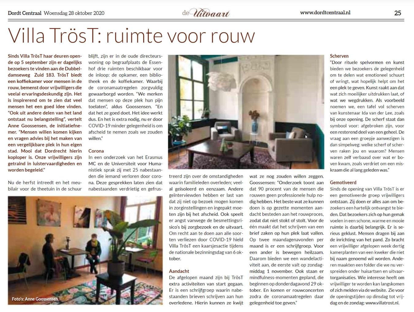 Interview Anne Goossensen van Villa TrösT in Dordt Centraal